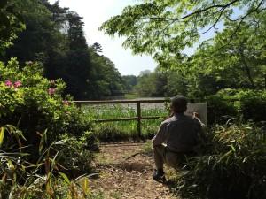 石神井公園で写生