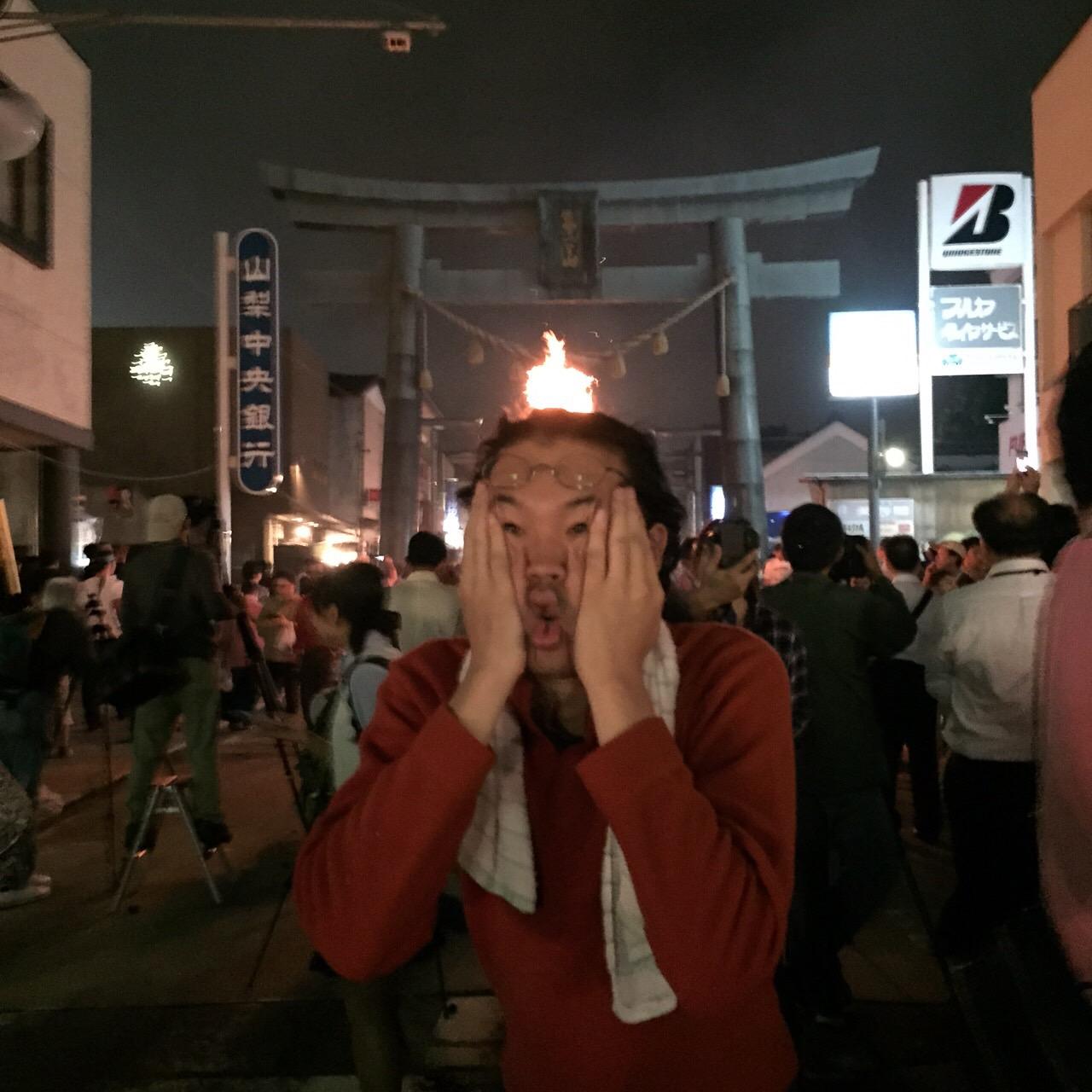 富士吉田の火祭りにて